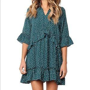 MITILLY women's v neck polka dot dress